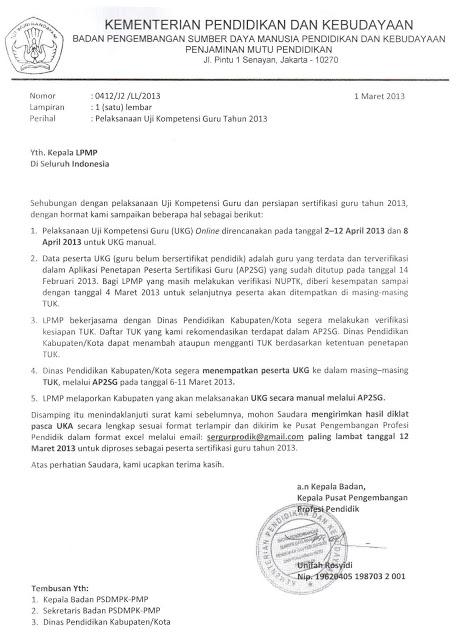 Surat dari Badan Pengembangan Sumber Daya Manusia Pendidikan dan Kebudayaan Penjaminan Mutu Pendidikan Kemendikbud Nomor  0412J2LL2013 tanggal 1 Maret 2013 tentang Pelaksanaan Uji Kompetensi Guru tahun 2013